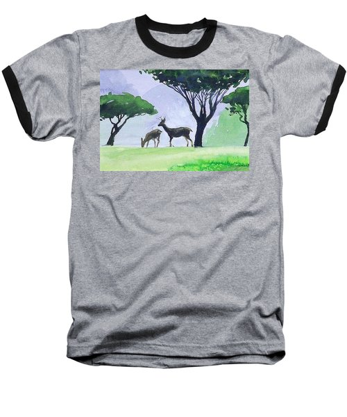 Baseball T-Shirt featuring the painting Point Lobos by Ed Heaton