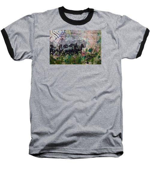 Baseball T-Shirt featuring the painting Ponies by Ron Richard Baviello