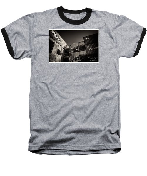 Pop Brixton - Spiral Staircase - Industrial Style Baseball T-Shirt by Lenny Carter