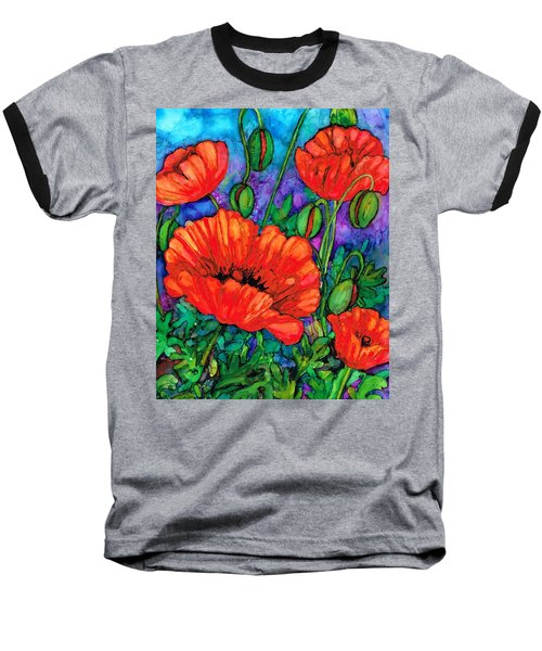 Baseball T-Shirt featuring the painting Poppies On Parade by Val Stokes