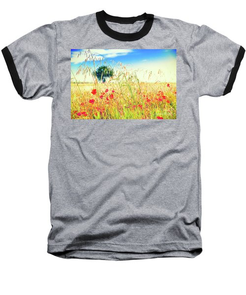 Baseball T-Shirt featuring the photograph Poppies With Tree In The Distance by Silvia Ganora
