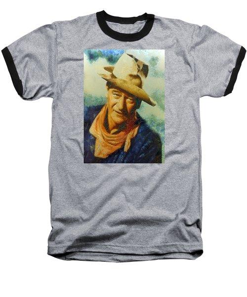 Baseball T-Shirt featuring the digital art Portrait Of John Wayne by Charmaine Zoe