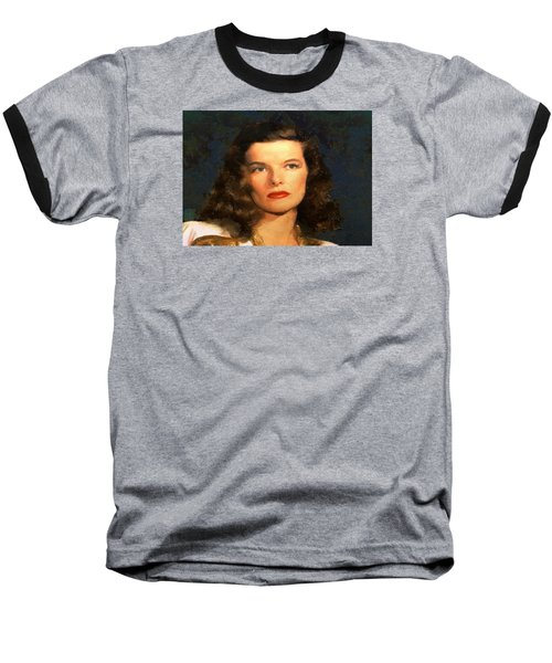 Baseball T-Shirt featuring the digital art Portrait Of Katherine Hepburn by Charmaine Zoe