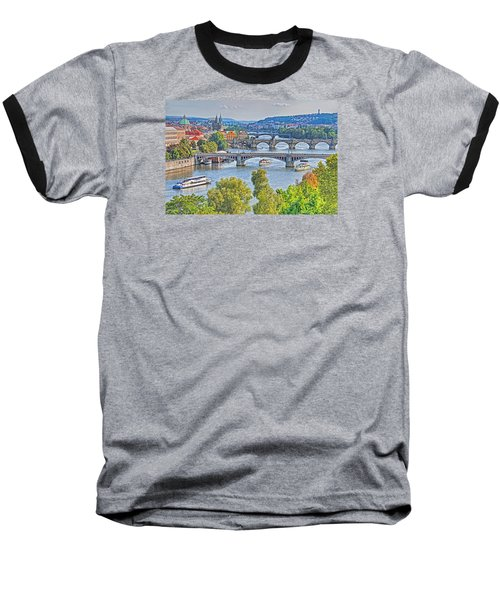 Baseball T-Shirt featuring the photograph Prague Bridges by Dennis Cox WorldViews