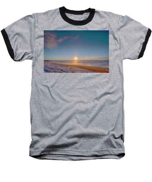 Prairie Winter Sunset Baseball T-Shirt