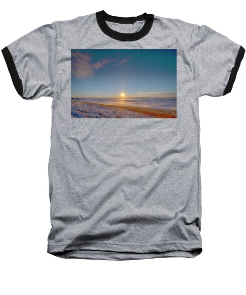 Prairie Winter Sunset Baseball T-Shirt