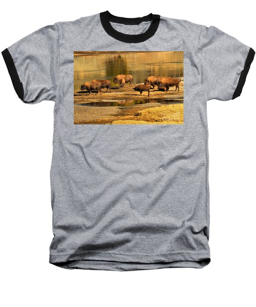 Baseball T-Shirt featuring the photograph Gathering To Cross The Yellowstone River by Adam Jewell