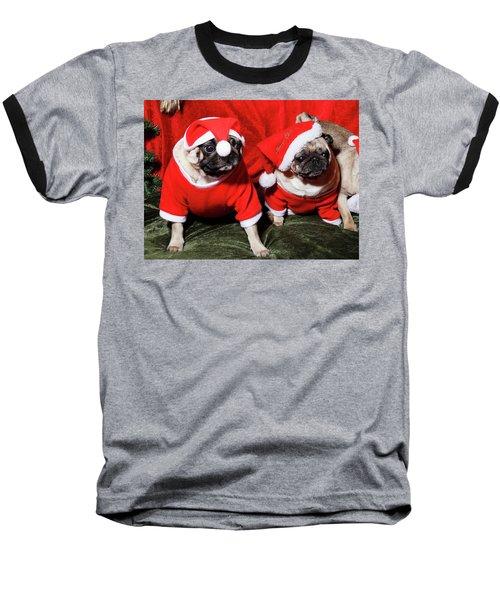 Pugs Dressed As Father Christmas Baseball T-Shirt