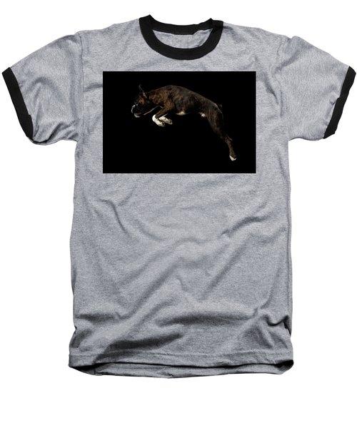 Purebred Boxer Dog Isolated On Black Background Baseball T-Shirt