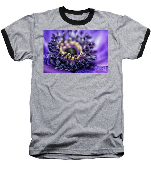 Purple Heart Of A Flower Baseball T-Shirt by Patricia Hofmeester