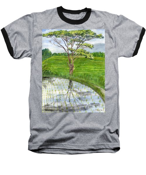 Baseball T-Shirt featuring the painting Rain Tree On The Way To Ubud Bali Indonesia by Melly Terpening