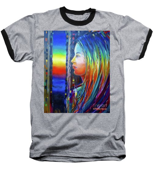 Baseball T-Shirt featuring the painting Rainbow Girl 241008 by Selena Boron