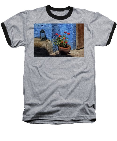 Baseball T-Shirt featuring the photograph Red Geranium Near A Blue Wall by Patricia Hofmeester