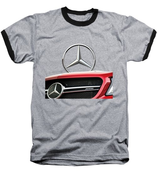 Red Mercedes - Front Grill Ornament And 3 D Badge On Black Baseball T-Shirt