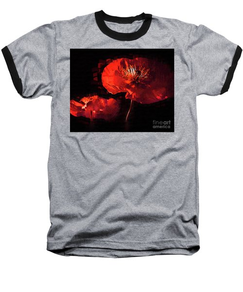 Two Red Poppies Baseball T-Shirt by Kirt Tisdale