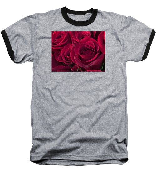 Baseball T-Shirt featuring the photograph Red Red Roses by Kay Gilley
