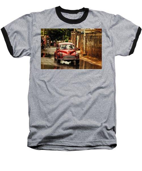 Red Retromobile. Morris Minor Baseball T-Shirt