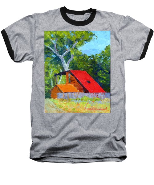 Red Roof Baseball T-Shirt by Susan Woodward
