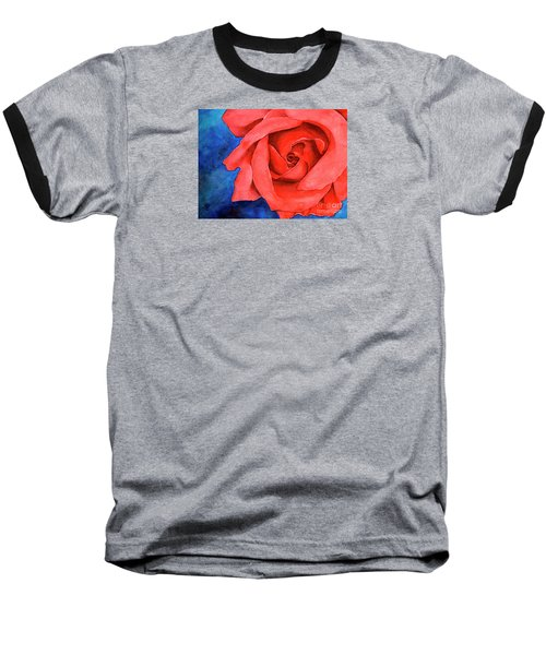 Red Rose Baseball T-Shirt by Rebecca Davis