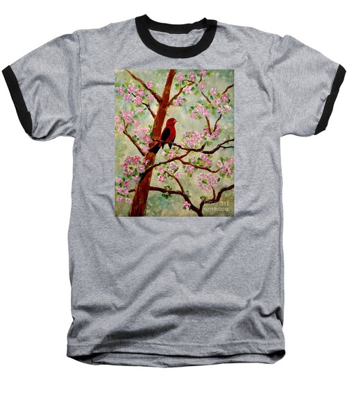 Baseball T-Shirt featuring the painting Red Tangler by Denise Tomasura