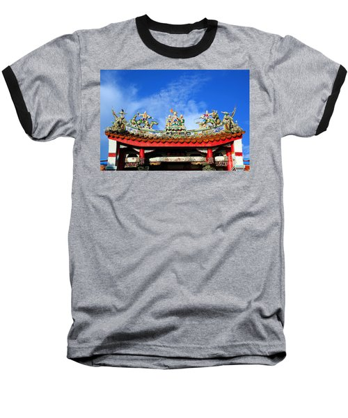 Baseball T-Shirt featuring the photograph Richly Decorated Chinese Temple Roof by Yali Shi