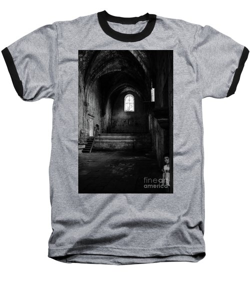 Baseball T-Shirt featuring the photograph Rioseco Abandoned Abbey Nave Bw by RicardMN Photography