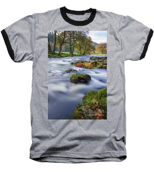 River Llugwy Baseball T-Shirt by Ian Mitchell