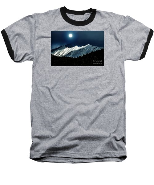 Rocky Mountain Glory In Moonlight Baseball T-Shirt by Elaine Hunter