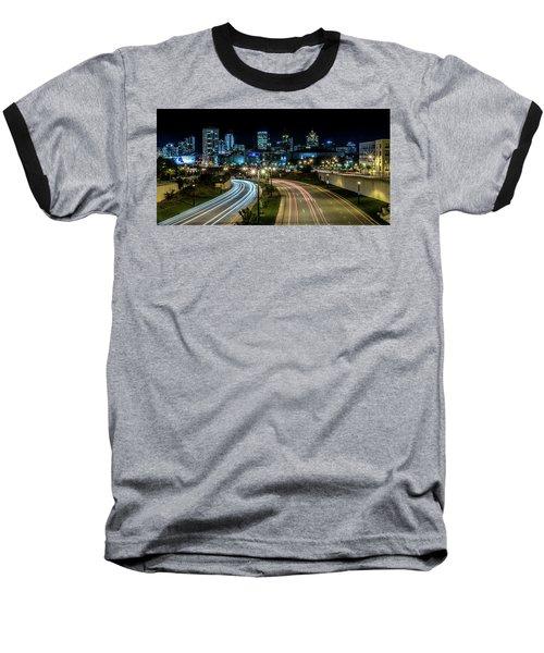 Round The Bend Baseball T-Shirt by Randy Scherkenbach