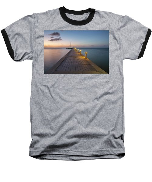 Baseball T-Shirt featuring the photograph Rum Point Pier At Sunset by Adam Romanowicz