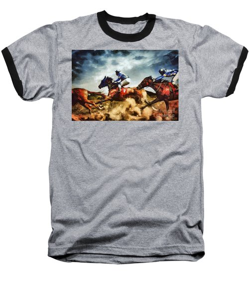 Baseball T-Shirt featuring the painting Running Horses Competition Jockeys In Horse Race by Dimitar Hristov
