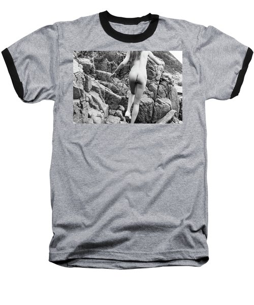 Running Nude Girl On Rocks Baseball T-Shirt