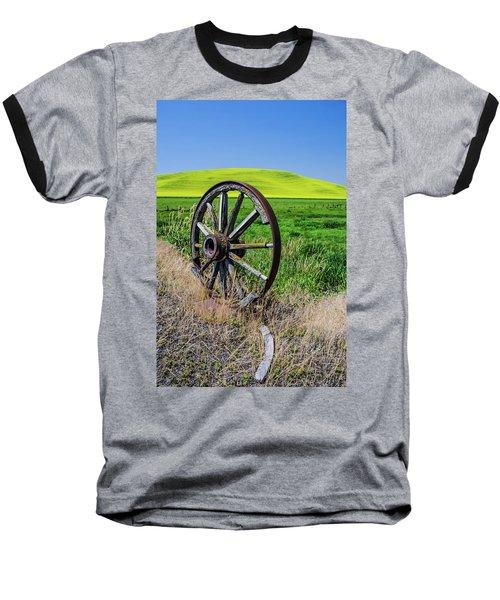 Rustic Wagon Wheel In The Palouse Baseball T-Shirt by James Hammond