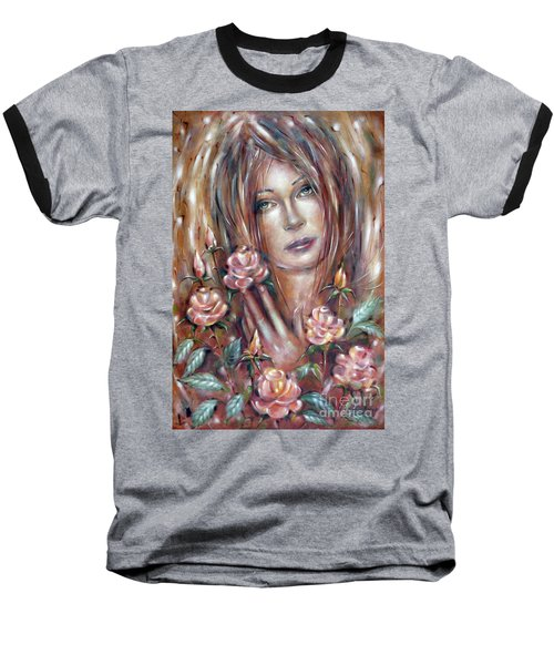 Baseball T-Shirt featuring the painting Sad Venus In A Rose Garden 060609 by Selena Boron