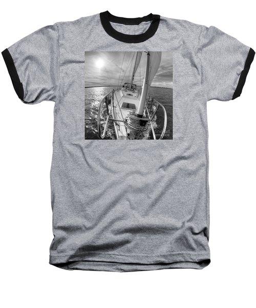 Sailing Yacht Fate Beneteau 49 Black And White Baseball T-Shirt