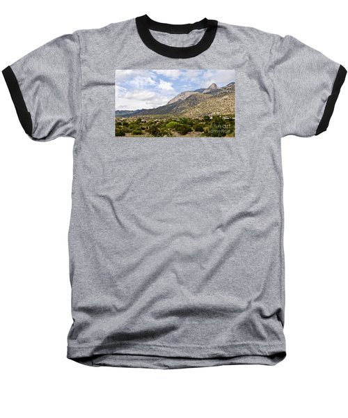 Sandia Mountains Baseball T-Shirt by Gina Savage