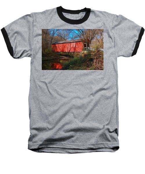Sandy /creek Covered Bridge, Missouri Baseball T-Shirt by Steve Warnstaff