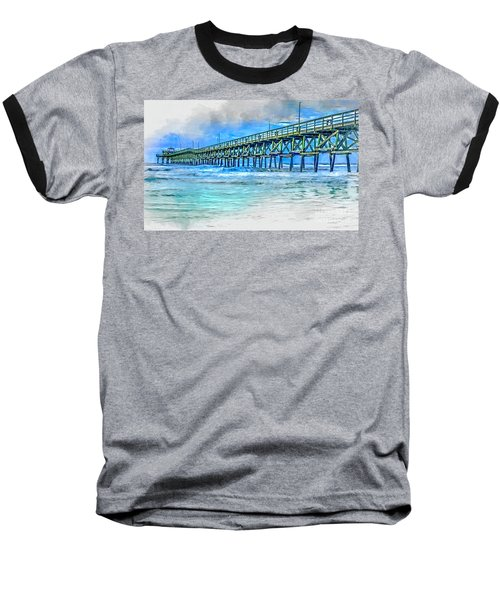 Sea Blue - Cherry Grove Pier Baseball T-Shirt