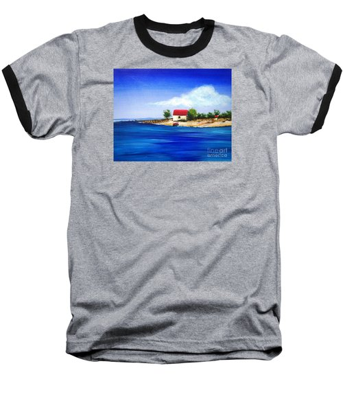 Baseball T-Shirt featuring the painting Sea Hill Boatshed - Original Sold by Therese Alcorn