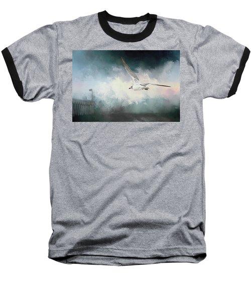 Seagull In Flight Baseball T-Shirt by Sennie Pierson