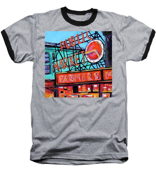 Seattle Public Market Baseball T-Shirt by Marti Green