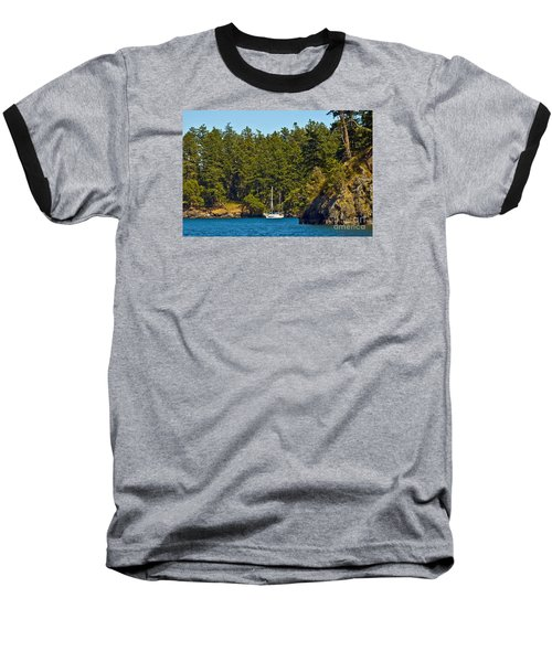 Secluded Anchorage Baseball T-Shirt by Chuck Flewelling