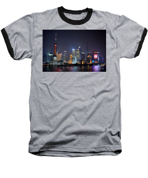 Shanghai China Skyline At Night From Bund Baseball T-Shirt