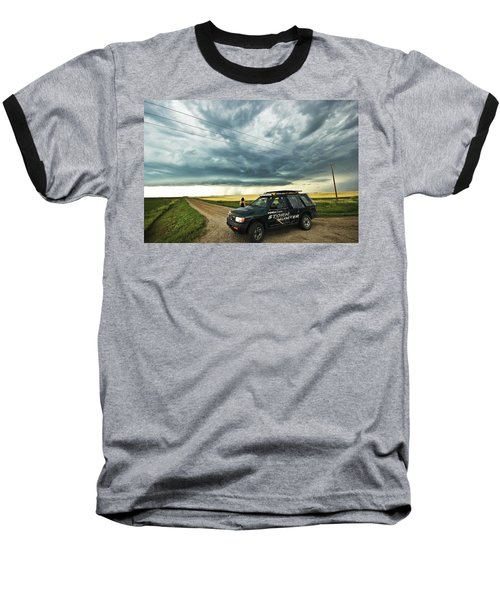 Shelf Cloud Near Vibank Sk. Baseball T-Shirt by Ryan Crouse