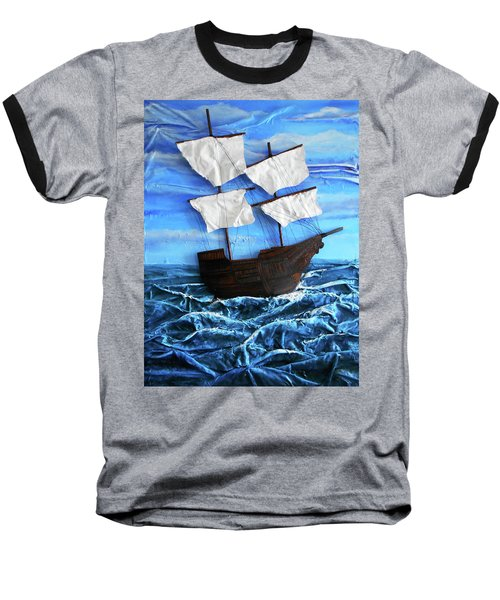 Baseball T-Shirt featuring the mixed media Ship by Angela Stout