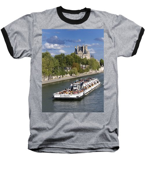 Sightseeing Boat On River Seine To Louvre Museum. Paris Baseball T-Shirt