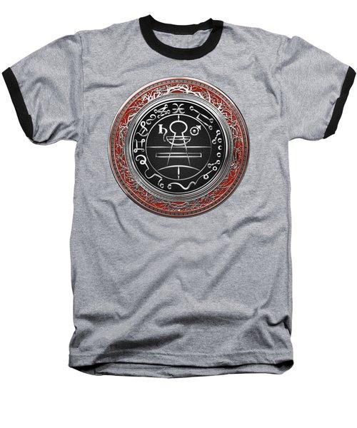 Silver Seal Of Solomon - Lesser Key Of Solomon On Red Velvet  Baseball T-Shirt