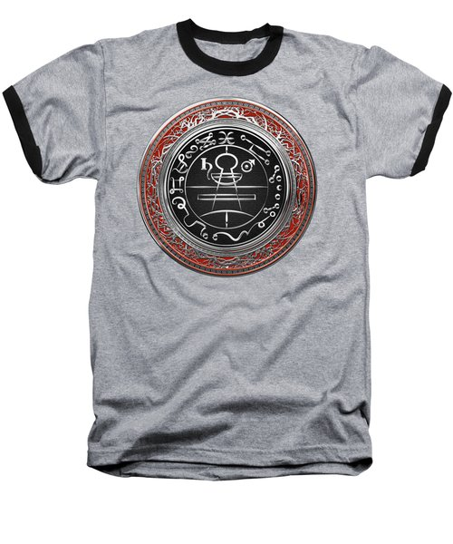 Silver Seal Of Solomon - Lesser Key Of Solomon On Red Velvet  Baseball T-Shirt