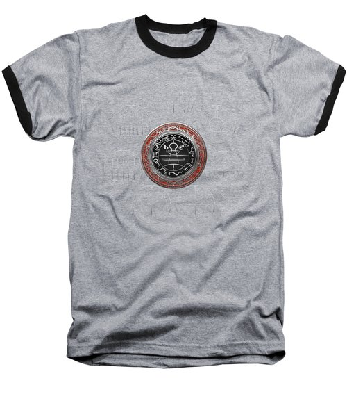Silver Seal Of Solomon Over Seven Pentacles Of Saturn On Black Canvas  Baseball T-Shirt