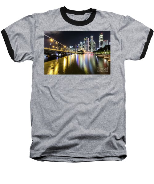 Singapore River At Night With Financial District In Singapore Baseball T-Shirt